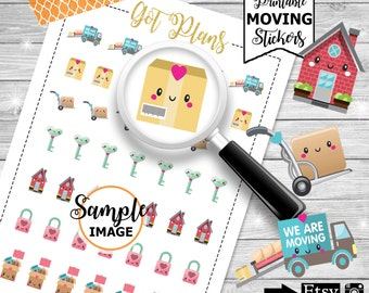 Moving Stickers, Printable Planner Stickers, Stickers For Planner, Planner Decor