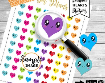 Heart Stickers for Planners, Heart Planner Stickers, Printable Kawaii Heart Stickers, Agenda Stickers, Printable Planner Stickers