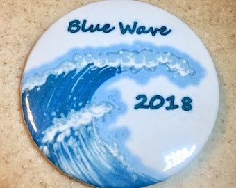 Blue Wave Democratic pin-back button