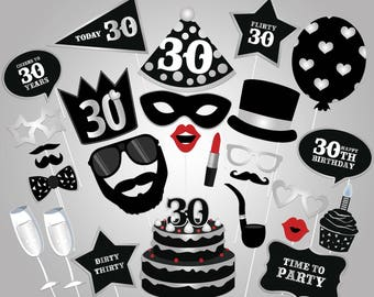 30th Birthday Photo Booth PropsPrintable BoothBlack And Silver Thirty Party Supplies Instant Download