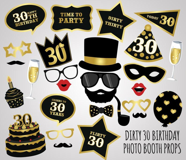 Printable 30th Birthday Photo Booth PropsDirty 30