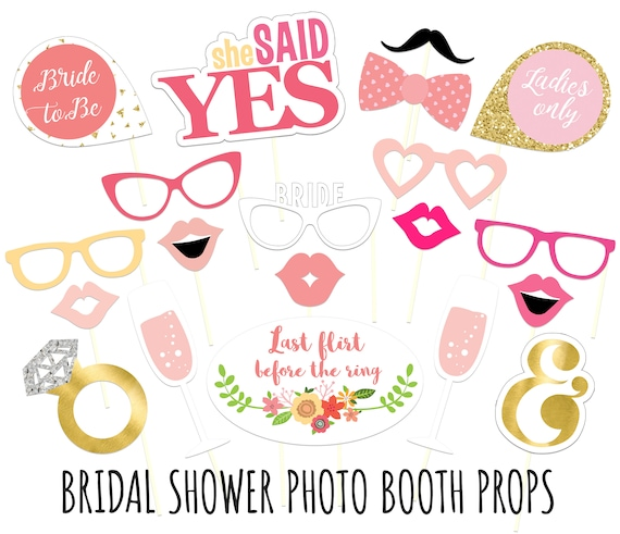 Printable Bridal Shower Photo Booth Props Bride Photobooth Etsy