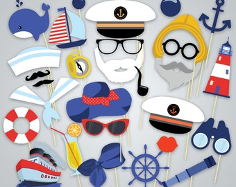 Printable Nautical Photo Booth Props, Printable Sailor Party Photo Booth Props, Instant Download Cruise Photo Booth Props, Nautical Party