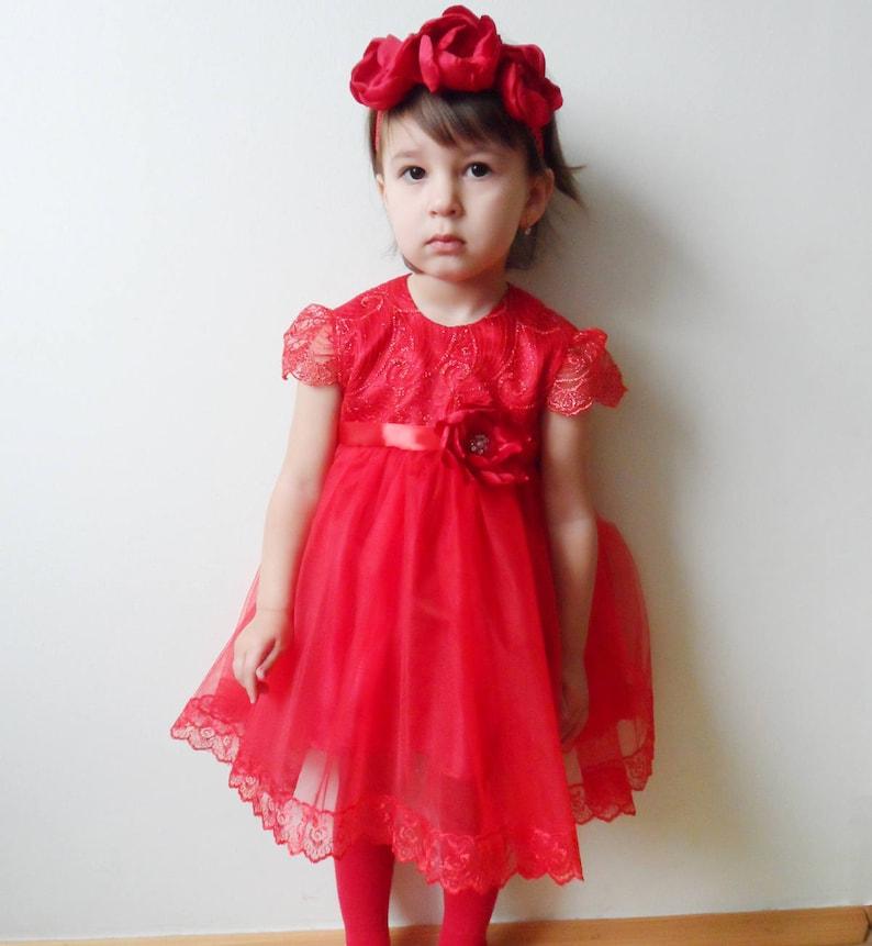 dc417c4963909 Red lace dress, luxury dress, flower girl dress, valentine dress, first  birthday, wedding, best present, christmas dress, tulle dress