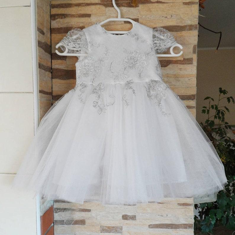 64257ec6366e Abito bianco e argento lusso tulle abito principessa Abito