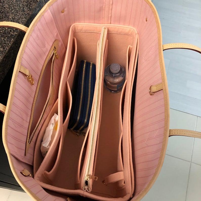 Neverfull GM MM PM Organizer w/ Detachable Zipper Bag Tote Rose Ballerine