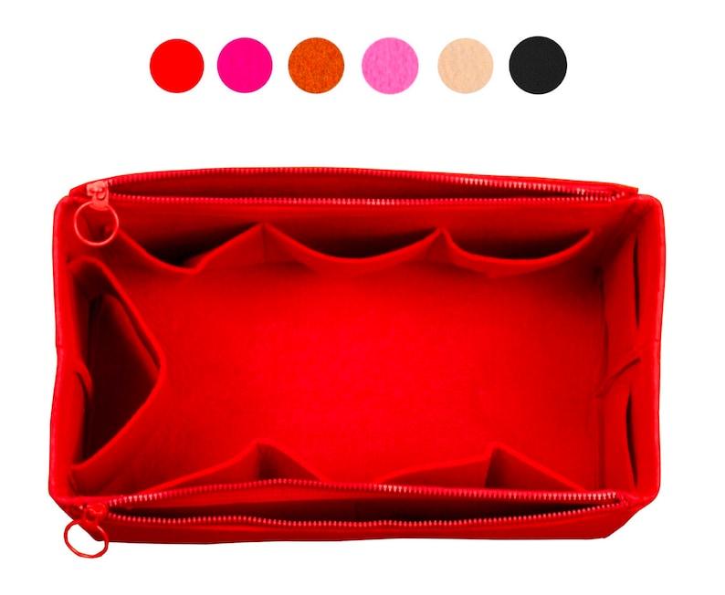 Felt Tote Organizer w/ Double Zipper Pockets Bag in Bag image 0