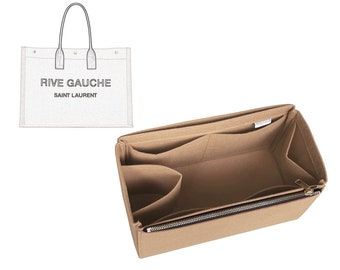 For [RIVE GAUCHE N/S LARGE] Felt Organizer (w/ Single Zipper and Water Bottle Holder) Shopping Bag Purse Insert