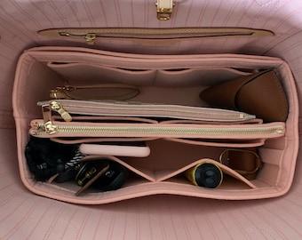 Neverfull GM MM PM Organizer (w/ Detachable Zipper Bag), Tote Felt Purse Insert, Makeup Gold Golden Zip Laptop iPad Pocket