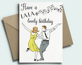 LA LA Land Personalised Birthday Card - Ryan Gosling, Emma Stone LALA
