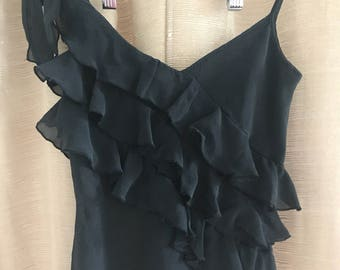 90's Little Black Ruffle Top size S