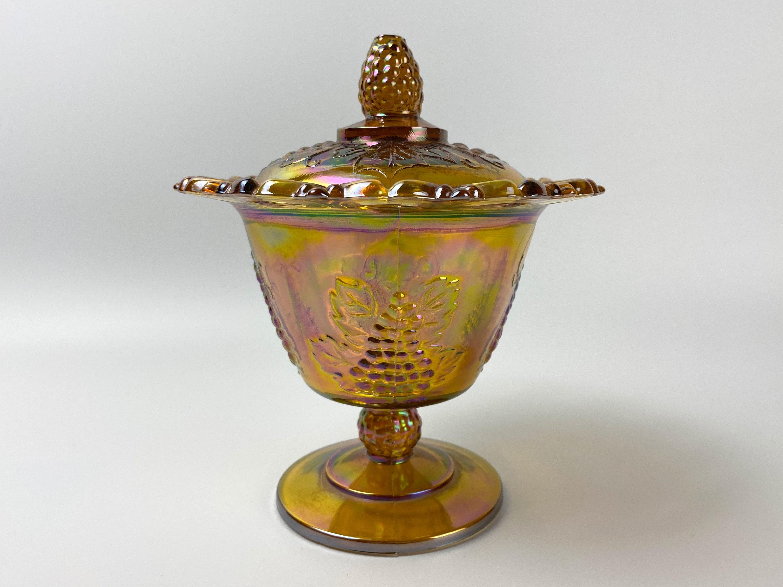 Marigold Carnival Glass Spooner  Indiana Glass Company 'Harvest'   ca. 21s