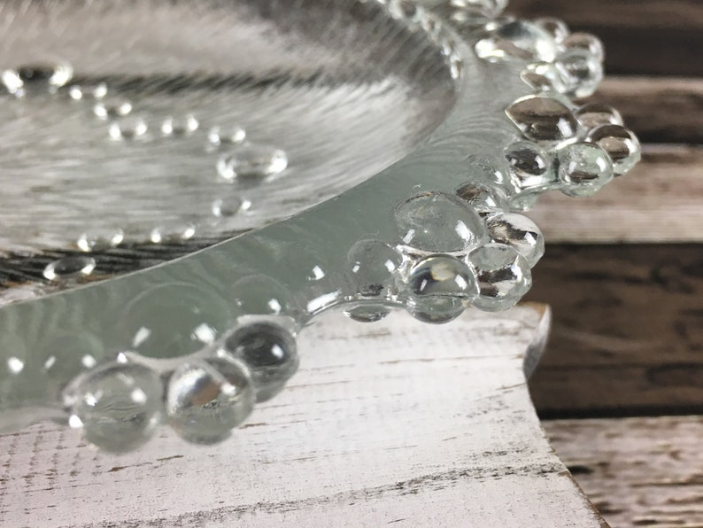 1960s Italian Bubble Lace Textured Glass Plate
