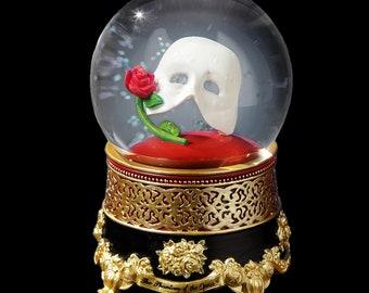 SF Music Box Phantom of the Opera Mask w/Rose Globe NEW