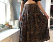 Bohemian Patterned Brown Maxi Skirt