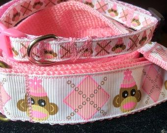Pink sock monkey leash and collar set