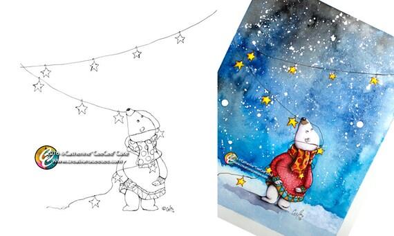 printable coloring page tangled polar bear | Etsy