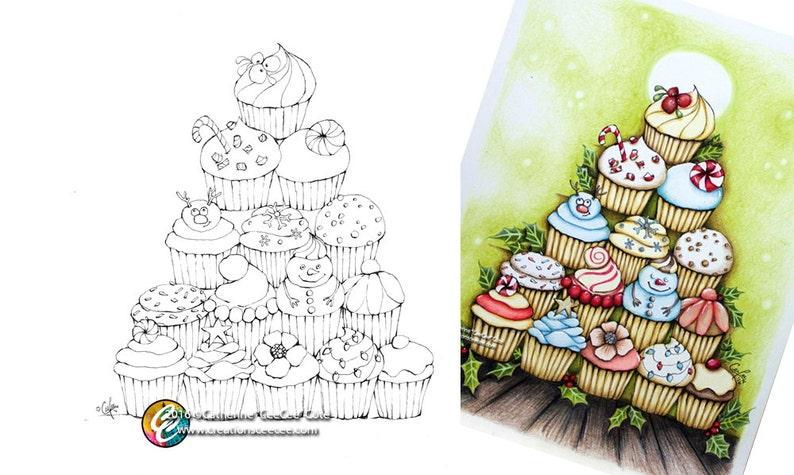 Printable Coloring Page Cupcake Christmas Tree Etsy