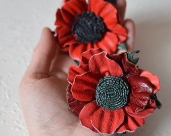 Gift For Woman Hair Accessories, leather flower poppy Red flower Woman's Gift gift for mother, gift leather jewelry handmade flower ponytail