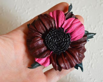 burgundy pink flower Handmade flower Hair wedding flower burgundy flower fuchsia jewelry handmade hair clip bridal gift ideas ethnic jewelry