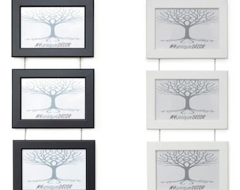 Triple Photo Picture Frame Linked Together with Chrome Ball Chain,. Black or White. 6x4, 5x7 inch or A4