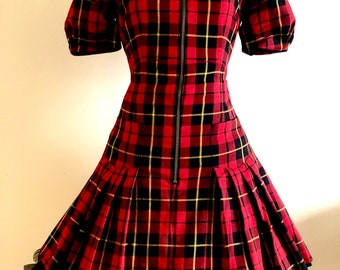 RARE Betsey Johnson Tartan Punk Schoolgirl Zip Dress Sample One-of-a-kind