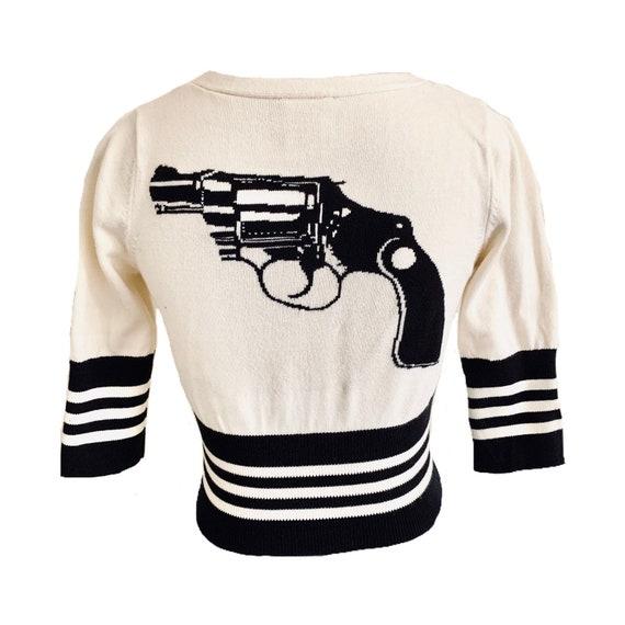 Vintage Betsey Johnson Punk Label Gun Intarsia Swe
