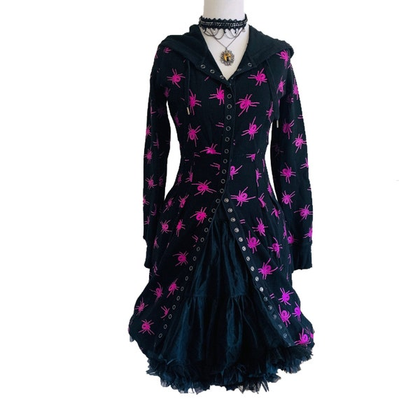 Vintage Betsey Johnson Spider Hooded Thermal Dress