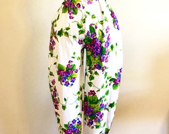 Vintage 1980's Betsey Johnson High Waisted Harem Punk Label Purple Floral Pants in Excellent Condition