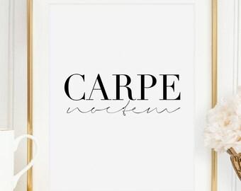 CARPE NOCTEM PRINTS, Seize The Night,Good Night Sign,Modern Art,Fashion Print,Humorous Print,Sarcasm Quote,Bedroom Decor,Night Party Decor