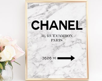 CHANEL INSPIRED,CHANEL Paris, Coco Chanel Rue Cambon Paris,Girls Room Decor,Marble Decor,Marble Prints,Quote Posters,Modern Art,Fashion Art