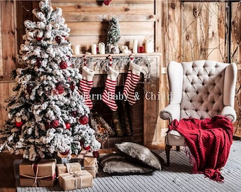 Newborn Christmas Fireplace Tree Digital Download With Props Backdrop Baby Kids Presents Background Stocking