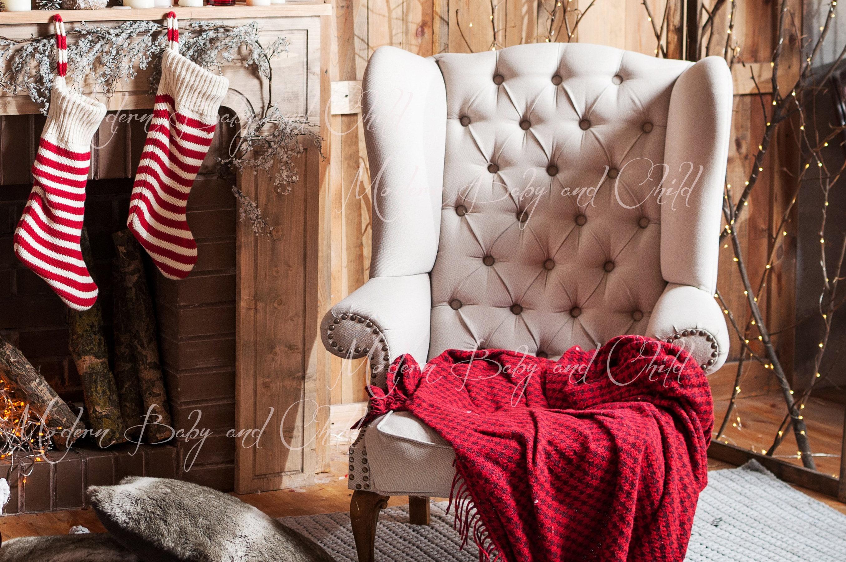 Newborn Christmas Fireplace Christmas Tree Digital Download