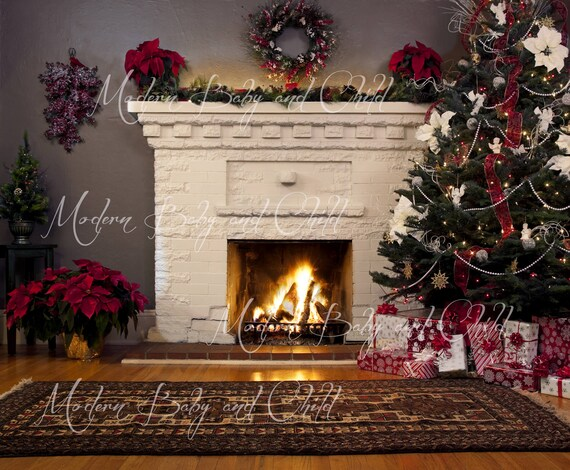 Fireplace Christmas.Newborn Christmas Fireplace Christmas Tree Digital Download With Props Backdrop Baby Kids Christmas Presents Digital Background Garland Fire