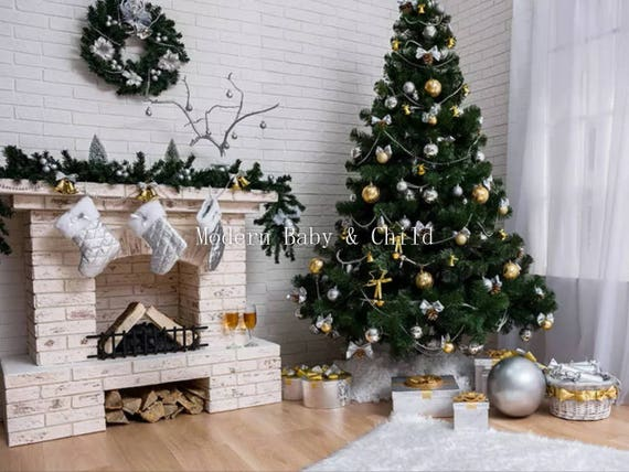 Fireplace Insta-View 5 Foot Wall Cover Christmas Photo Prop background