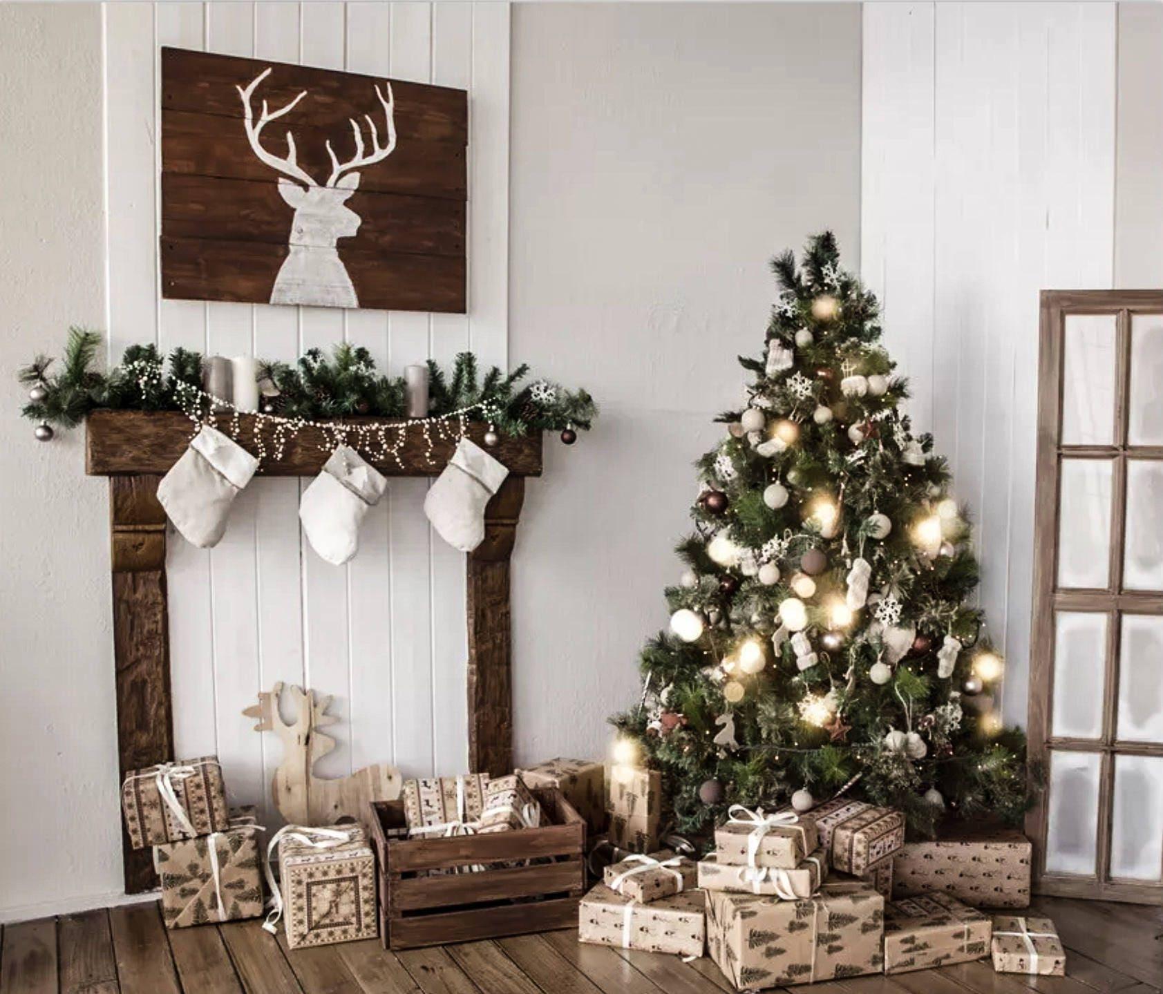 Newborn White Christmas Fireplace Christmas Tree Digital