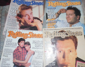 4 vintage 1980's rolling stones  magazines, interviews with Bruce Willis and more!