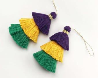1pc, 8cm , Mardi Gras Inspired 3 Layer Multi Coloured Cotton Tassel