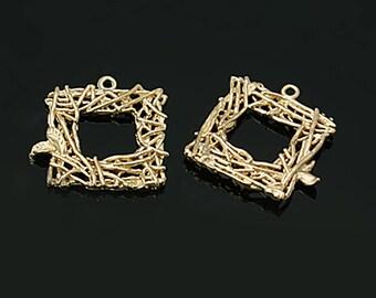 2pc, 20x20x2.5mm, Brass Pendants, Hollow, Lead Free, Square, Golden