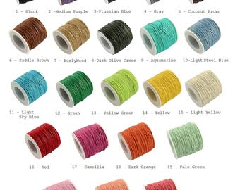 10 Meters, 1mm, Waxed Cotton Thread Cords
