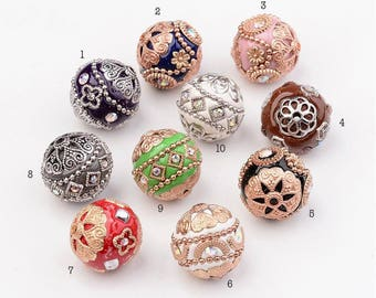 1pc, 19~20mm, Handmade Round Indonesia Bead with Alloy Findings - Choose your colour