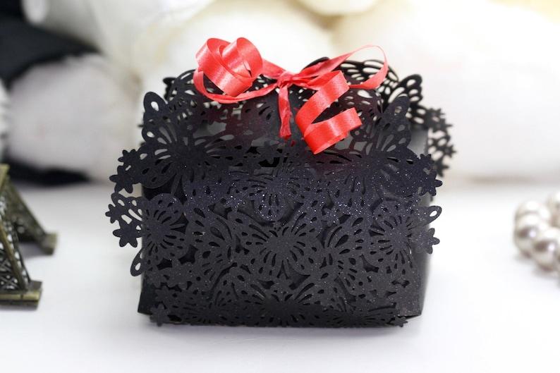 1pack Black Lace Cut Butterfly Favour Box 10pcs