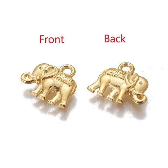 2 Elephant pendants antique silver tone A507