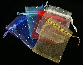 1pack (10pcs/pack), 9x7cm, Presents Packages Organza Bags with Ribbon in Mixed Colour