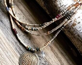 Vintage turkma pendant wrap around necklace