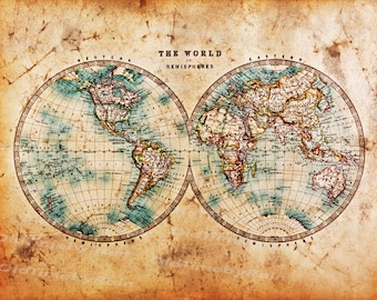 Vintage World Map Art.Vintage World Map Etsy