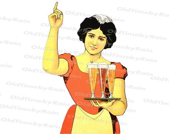 Instant PNG Digital Download/Vintage Illustration/The girl with a tray/Vintage waitress/Glasses with beer/Vintage Lady/Vintage Women