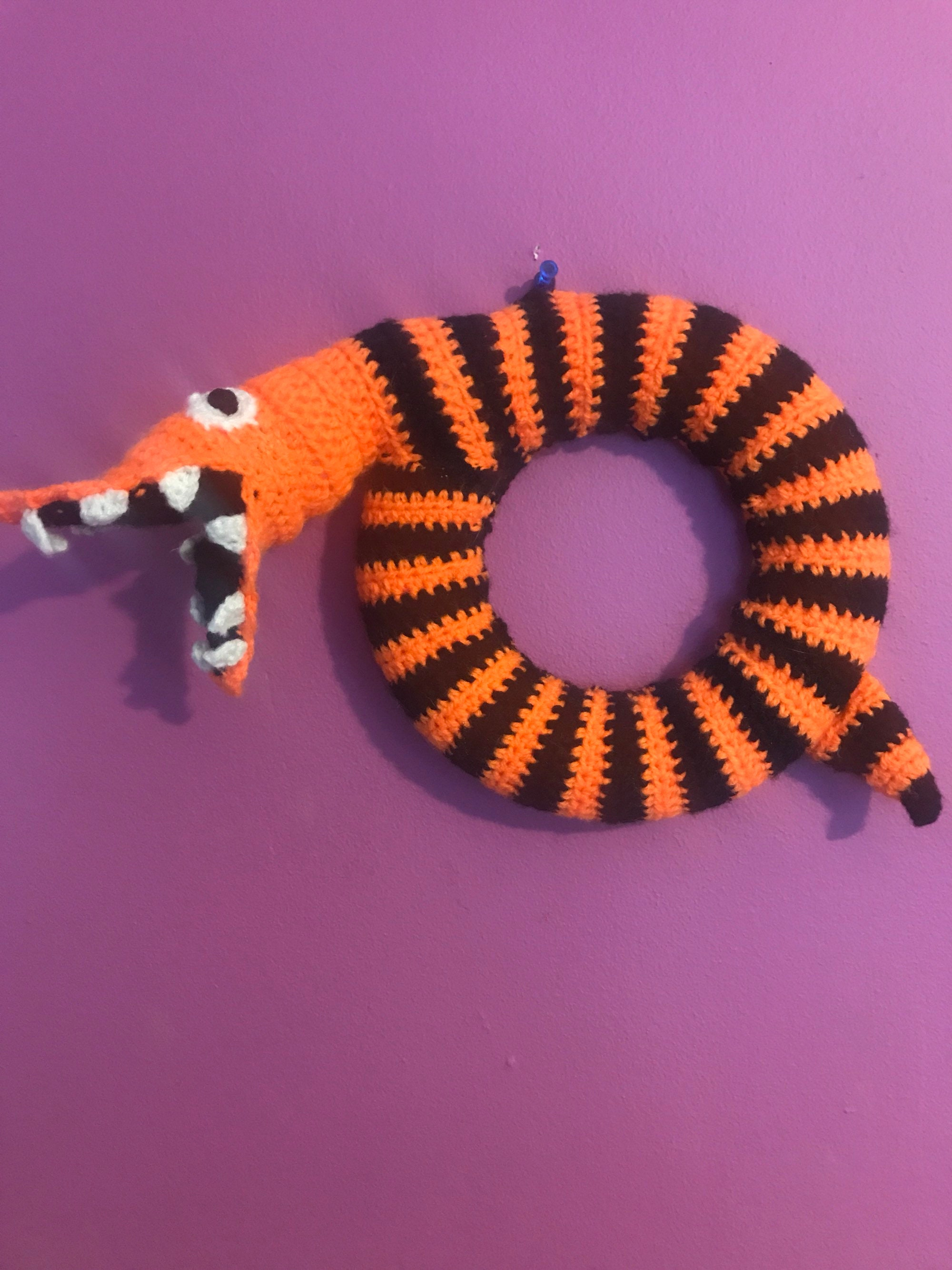 Nbc nightmare before christmas snake wreath handmade crochet | Etsy