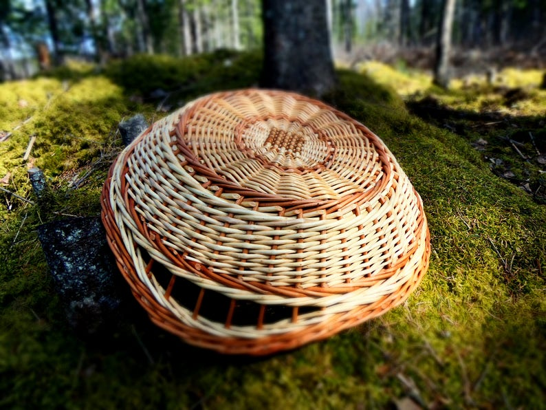 Ottoman Tray Hand Woven Basket Willow Wood Woven Tray Wicker Basket Round Tray Wicker Table Woven Basket Wicker Tray Storage Basket