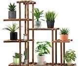 Nature Wood Flower Plant Stand Multi-Tier Display Shelf Storage Rack Home Garden